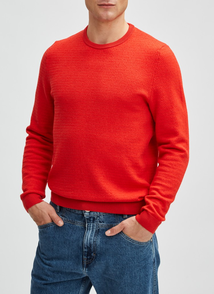 Pullover Rundhals 1/1 Arm, Rush Red Frontansicht