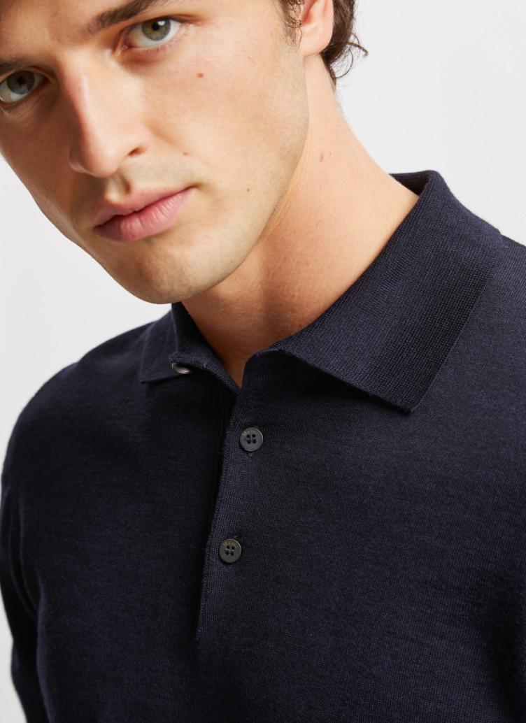 Pullover Polokragen, Knopf 1/1 Arm, Navy Detailansicht 1