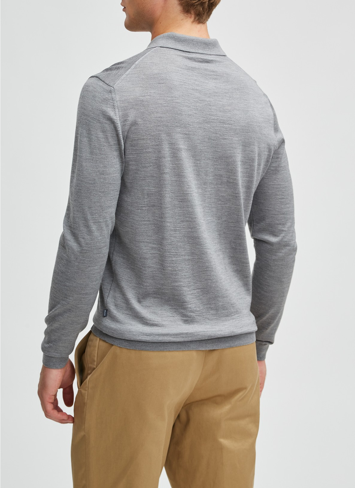 Pullover Polokragen, Knopf 1/1 Arm, Mercury GreyRückansicht