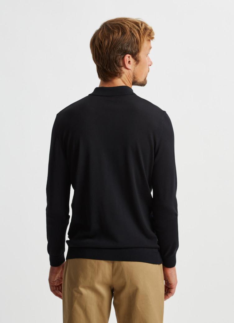 Pullover Polokragen, Knopf 1/1 Arm, Black Rückansicht