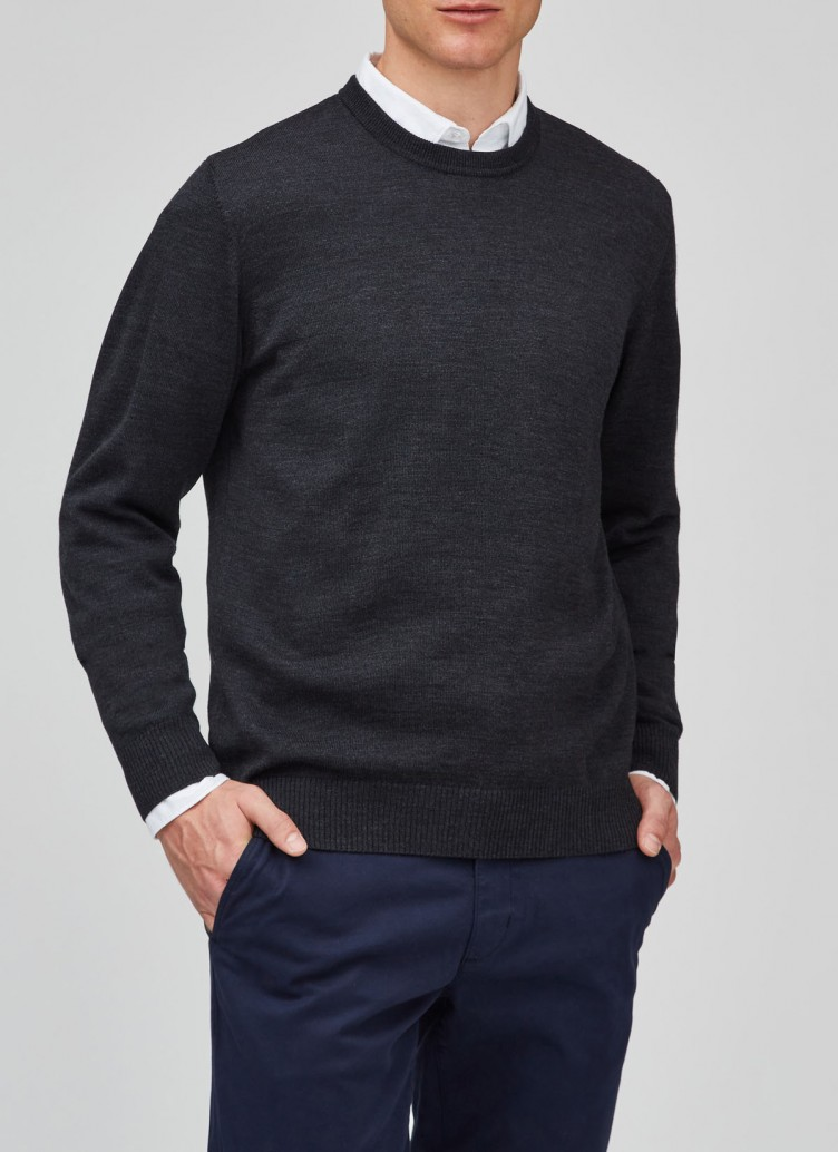 Pullover, O-Neck, Anthrazit Frontansicht