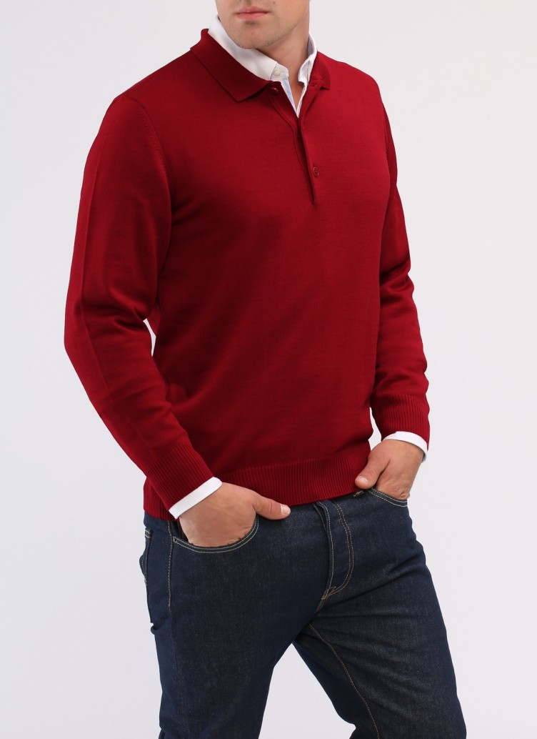 Pullover, Polo-Neck, Weinrot Frontansicht
